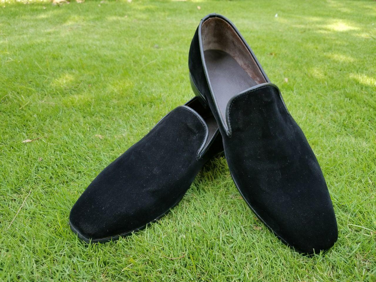 Men's Bespoke Handmade Black Velvet Slip-On Moccasin Casual   Formal Wear shoes