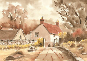 John-A-Case-Signed-Contemporary-Watercolour-Cottage-Garden-Study