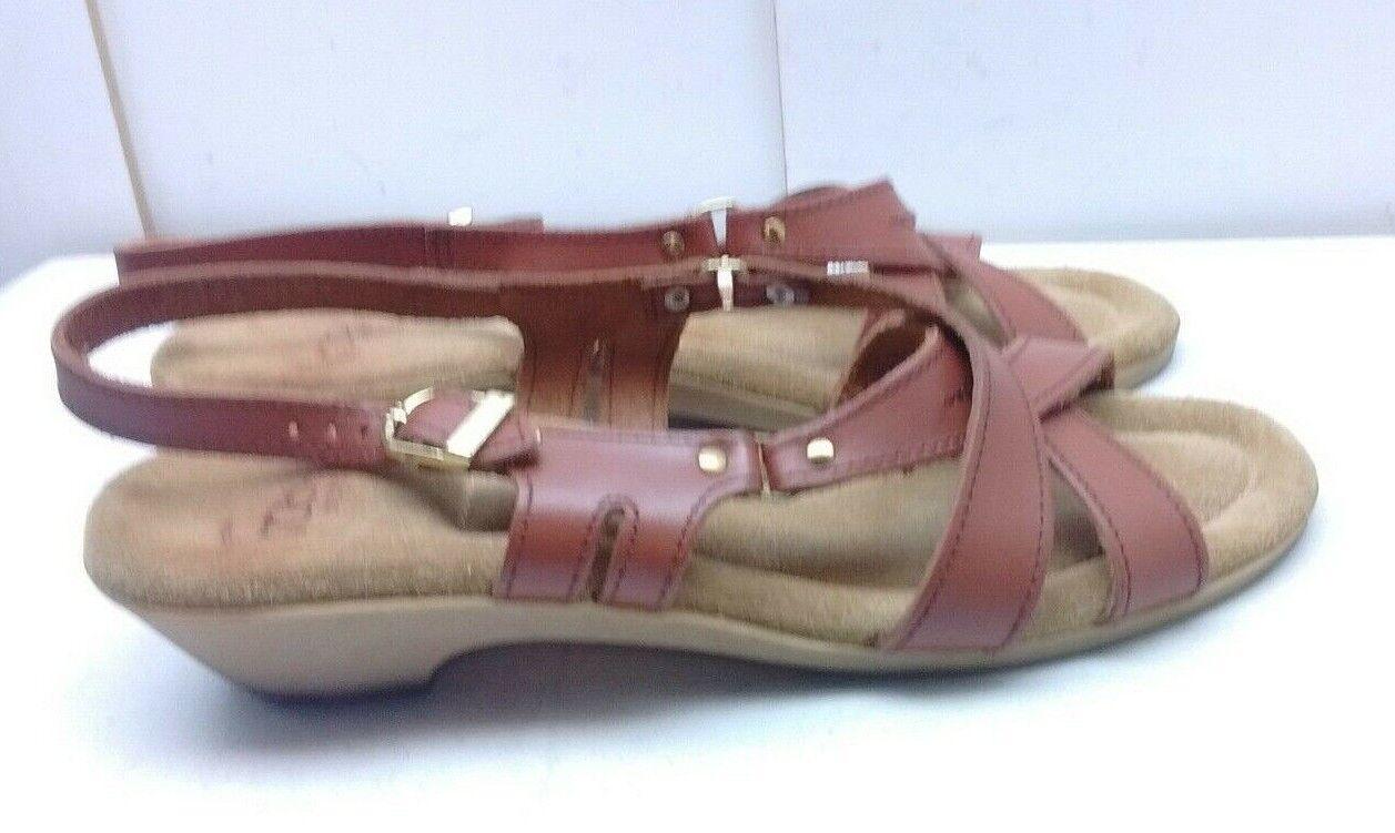 Italian Marronee Leather crepe Sole  Slingback Ankle Strap Sandals scarpe 10B  negozio fa acquisti e vendite