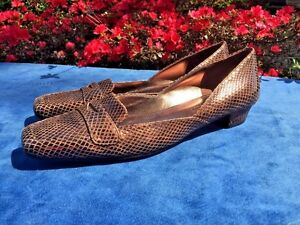 ENZO ANGIOLINI Copper SnakeSkin Mary Janes Loafers High Heels Womens Shoes Sz 8