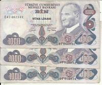 TURKEY 1000 LIRA 1970  P 191. F CONDITION. ONE NOTE. 3RW 24 AGOST