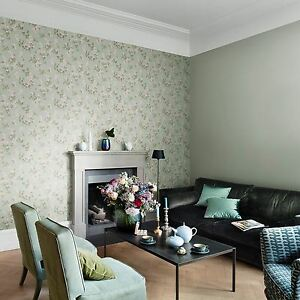 Aetas Carta Da Parati.Details About Emilia Floral Blossom Wallpaper Mint Green Rasch 501537 Flowers