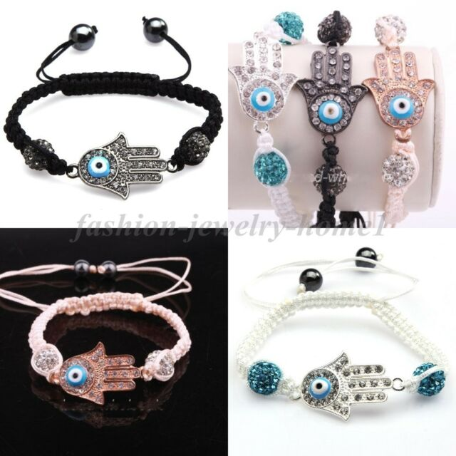 3 Colors Fashion Women Hamsa Protection Evil Eye Good Luck Bracelet Wristband