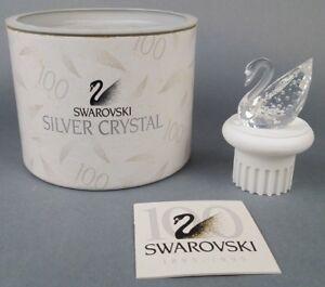 Signed-by-Artist-Swarovski-Crystal-100-Year-Swan-Pedestal-7633-NR100-000-Lot-J39