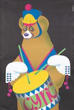Original Vintage Poster Majewski Cyrk Bear Circus Drums 1975