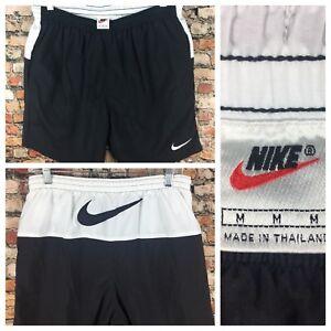 Abuelo cámara Primer ministro  Vintage 90s Nike Natación Pantalones Cortos De Nylon Negro Grande Medio de  etiqueta con el logotipo de Swoosh Blanco   eBay