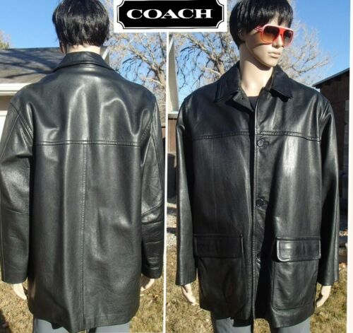 heavyweight COACH full grain leather jacket zip in