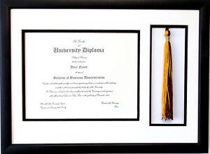 Graduation Certificate Diploma Frame 85x11 W Tassel Opening Black