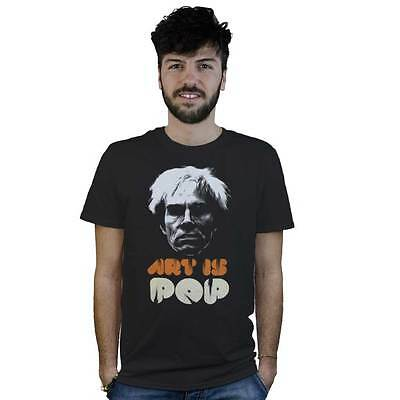 T-Shirt Art is Pop Andy Warhol, maglietta nera con logo e scritta stile Stencil