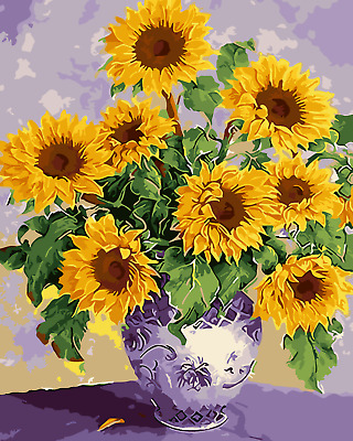 "16X20/"" DIY Paint By Number Kit Oil Painting On Canvas Flower Scenery SPA1834"