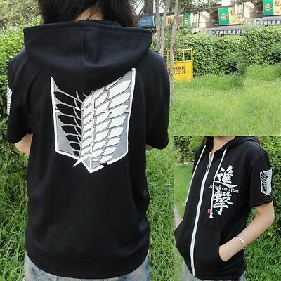 Black Anime Attack on Titan Cosplay Hoodie Scouting Legion Hooded Sweater  TB