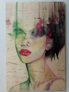 UNIKAT Malerei auf Holz,Acryl,Aquarell Bilder Bleistift,Erotik Akt Portrait