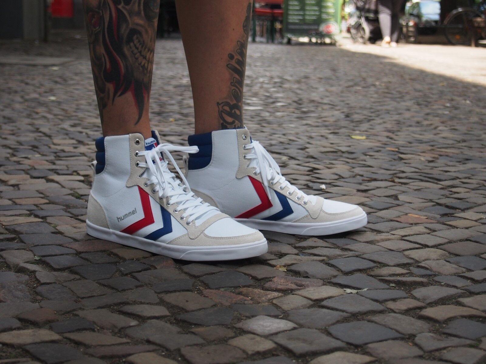 Hummel Schuhe SLIMMER STADIL High 63-511-9228 white/blue/red Canvas NEU Turschuh