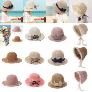 Baby-Toddler-Girls-Hats-Summer-Sun-Hat-Seaside-Beach-Lace-Flower-Weave-Straw-Cap