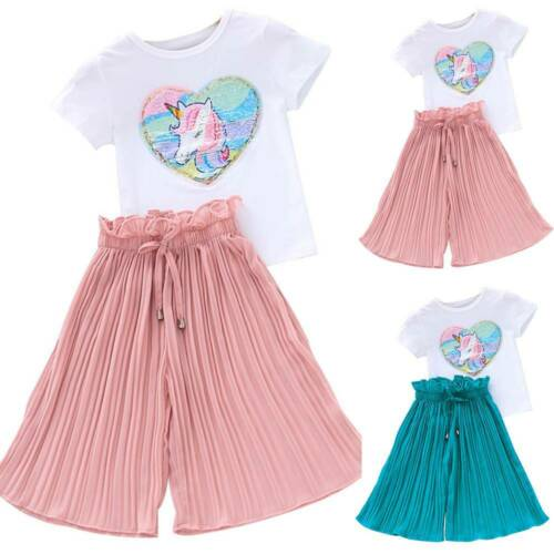 Toddler Kids Baby Girl Unicorn Tops T-shirt Summer Pleated Pants Outfits Clothes