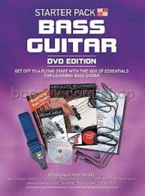 STARTER PACK BASS GUITAR ABSOLUTE BEGINNERS - BOOK, CD, DVD GUITAR STRAP, PICK