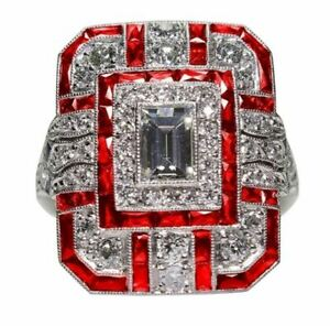 Bague-Ring-Femme-Carre-Pierre-Saphir-Diamants-Rouge-Modele-60
