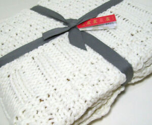 West-Elm-Creamy-Off-White-Mixed-Knit-Acrylic-Throw-Blanket-50-034-X-60-034-New
