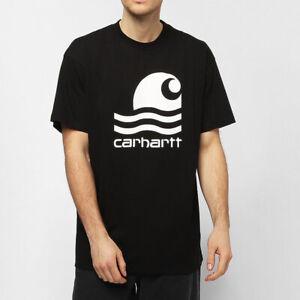 CARHARTT-T-Shirt-Black-Nera-Mezza-Manica-Uomo-Casual-Girocollo-Swim-Con-Stampa