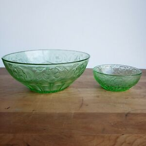 Green-Depression-glass-bowls-wild-rose-design-master-berry-and-small-berry
