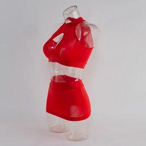 Sexy Women's Lingerie Open Bust Bodycon Crop Top+Mini Skirt Dress Nightwear US