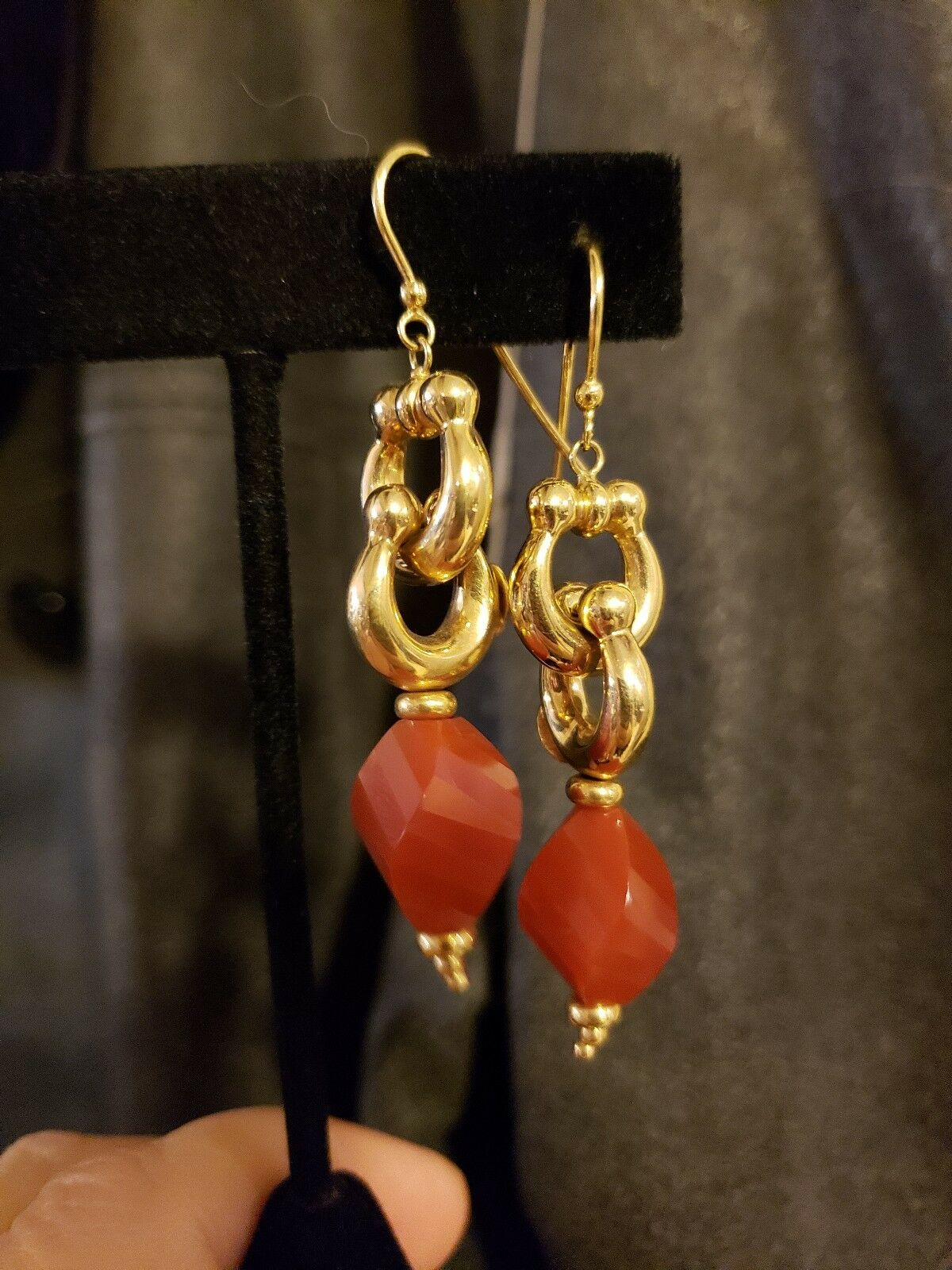 14K Yellow gold Faceted CARNELIAN Dangle Earrings, EQUESTRIAN Design, ITALY