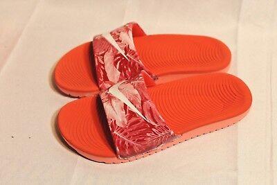 New Girls//boys Kids Nike Kawa red//white cushioned slide sandals