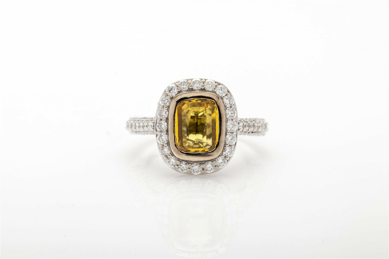 Designer 4ct Natural Cushion Cut Yellow Sapphire VS G Diamond HALO 18k gold Ring