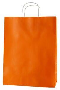 ORANGE TWISTED HANDLE KRAFT PAPER CARRIER BAGS