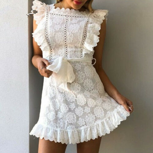 Women Summer Slim Lace Dress Sleeveless Floral A Line Beach Mini Dress With HGU