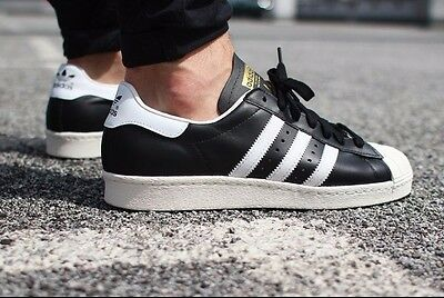 sale retailer 72bb0 ace11 NWT Men s SIZE 11 adidas ORIGINALS SUPERSTAR 80 S BLACK WHITE STRIPES G61069