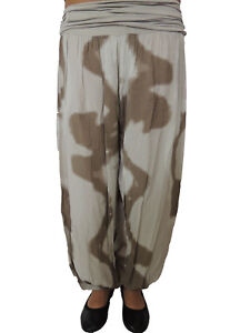 Damen Haremshose Größe 44 46 48 50 52 54 Übergröße Pumphose Sommer Batik Hose 2