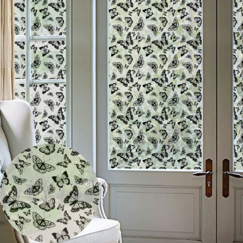 CN/_ BUTTERFLY FROSTED PRIVACY WINDOW STICKER FILM BATHROOM HOME DECAL DECOR ST