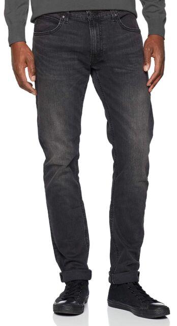 New Men/'s Lee Luke Slim Tapered Denim Jeans Stretch Regular Rise Clean Black