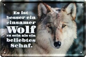 Details Zu Besser Ein Einsamer Wolf Als Beliebtes Schaf 20x30 Spruch Deko Blechschild 1693