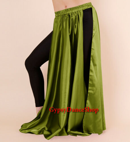 Women Satin 2 Slit Panel Skirts Tribal Belly Dance ATS Gypsy Oriental Jupe Röcke