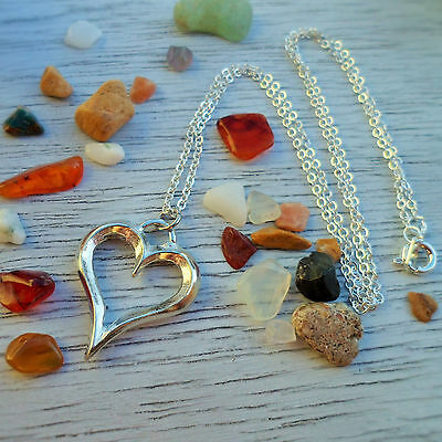 Fine Pewter Heart Necklace, Made in Cornwall; An Ideal Cornish Gift!