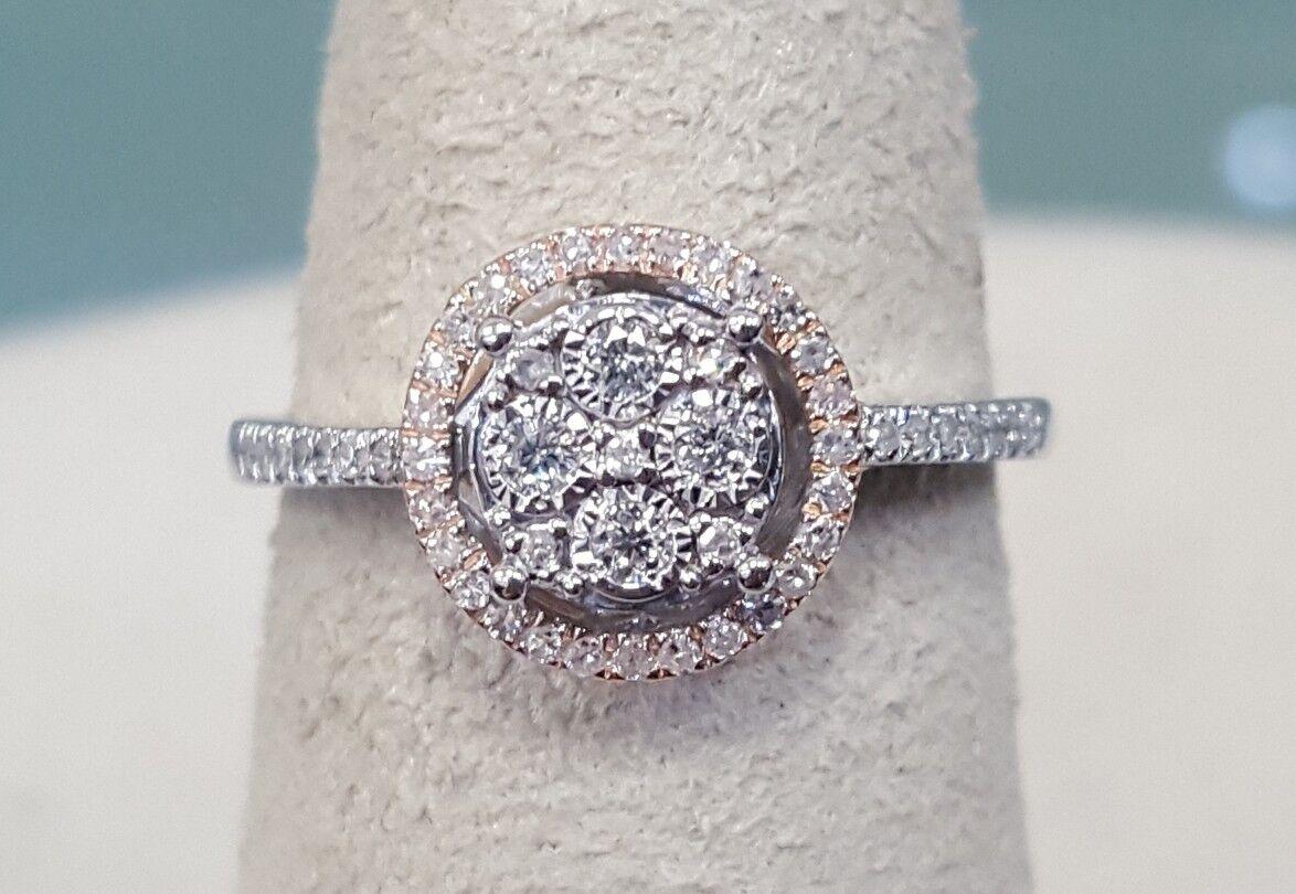 Diamond Cluster Halo Ring 10K pink & White gold Sz 6.75 Retail  1149