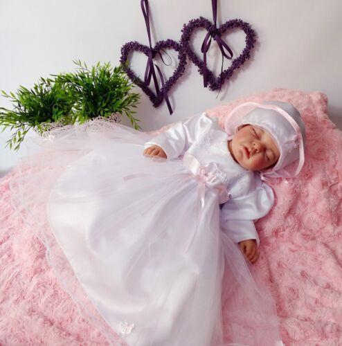 Langarm Gr 3Tlg Babykleid,Tüll Taufkleid+Mantel+Mutze 62,68,74,80,86 NEU