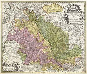 KOLN-ERZSTIFT-amp-KURFUSTENTUM-Johann-B-Homann-kolorierter-Kupferstich-1716