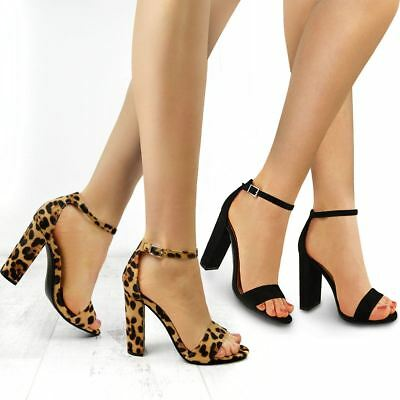 womens leopard black high heel barely there party sandals