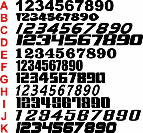 Race car numbers vinyl graphic decal single basic color