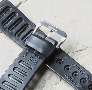 Genuine-NOS-1960s-Tropic-Swiss-slotted-18mm-dive-watch-band-rubber-Acier-buckle