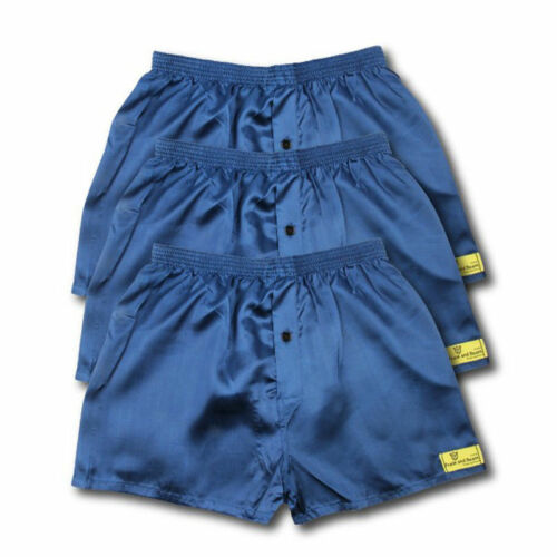 3 PACK OF SATIN BOXER SHORTS NAVY OR BLACK ALL SIZES AVAILABLE S M L XL XXL S320