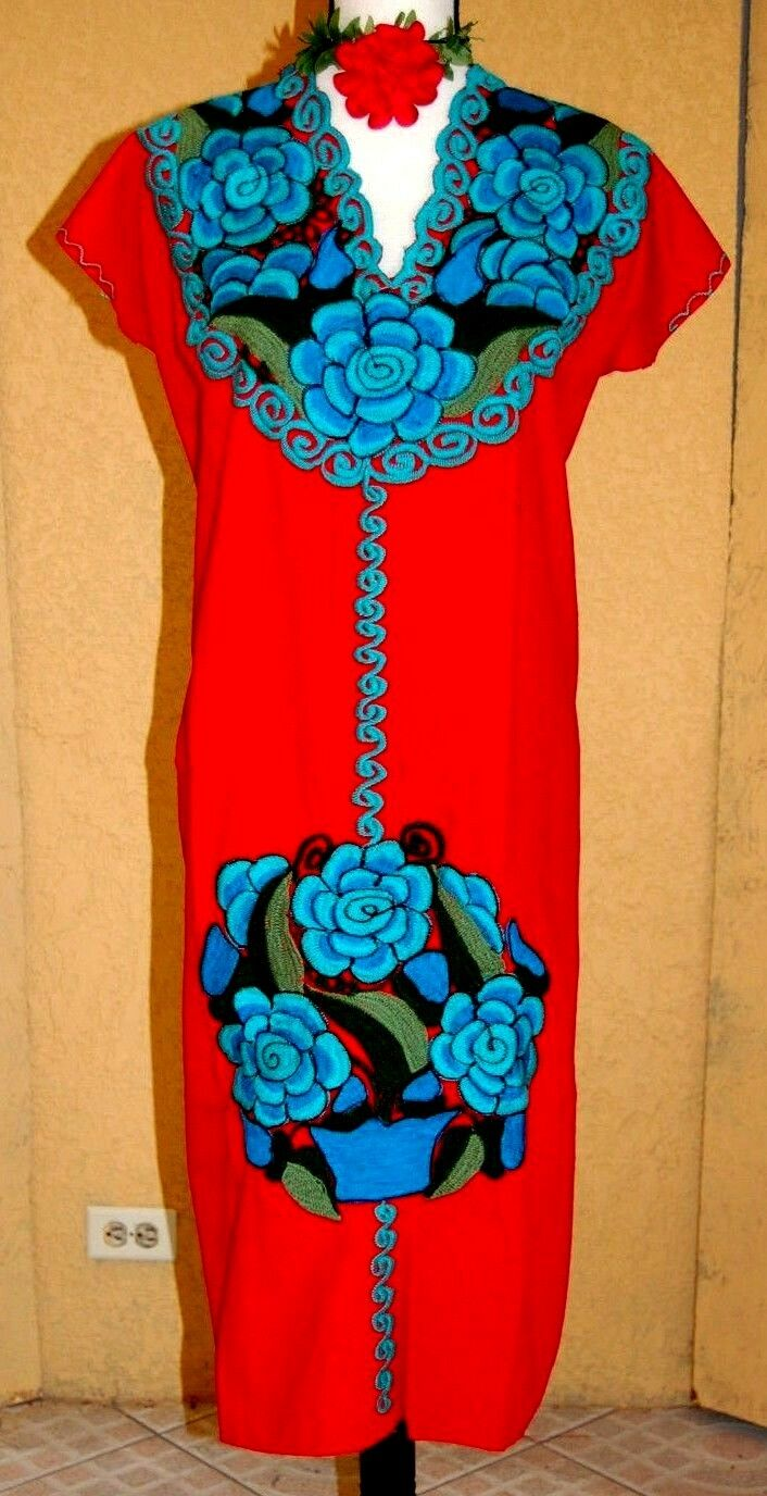 5 de Mayo Mexican rot Dress Huipil Embroidery Oaxaca Cotton 2XL Vtg NWT