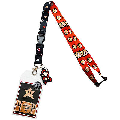 Lanyard Super Mario Bros Mushroom Charm ID Card Pass Badge Key Holder Neck Strap