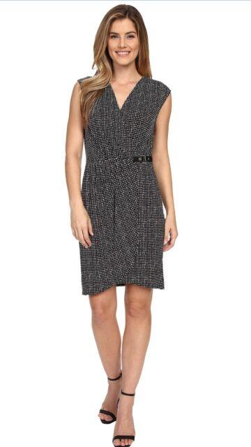 Michael Kors Black And White Plus Size 3X Faux Wrap Dress, Retail $130