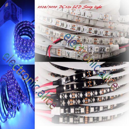 DC12V 3528//5050 UV Ultraviolet purple 60LED//M 300LED Strip light Black//White PCB