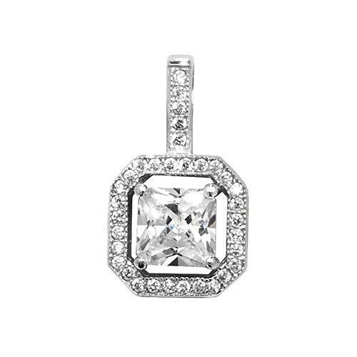 925 Sterling Silver 19mm Princess Cut Cubic Zirconia Drop Pendant Gift Boxed