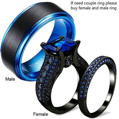 Couple Wedding Ring Womens Black Ring Set Tungsten Carbide Mens Engagement Ring Ebay